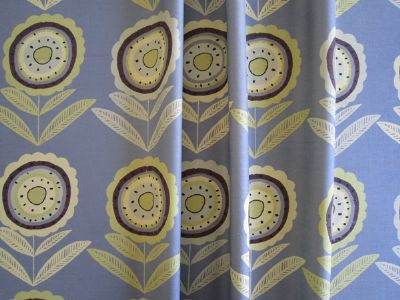 Big Daisy Yellow Leaves 68cms-Large- Grey Linen Floral Fabric for Curtains and Blinds